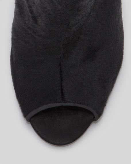 Briann Calf-Hair Clear-Wedge Bootie