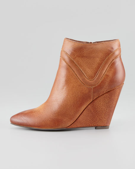 Won't Wait Leather Wedge Bootie, Whiskey