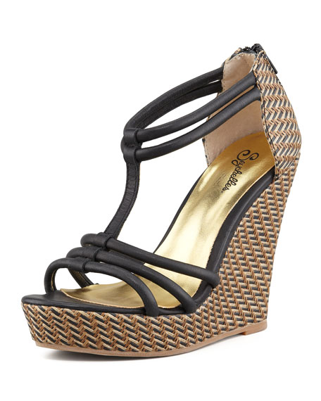 Gasp Woven Wedge Sandal, Black