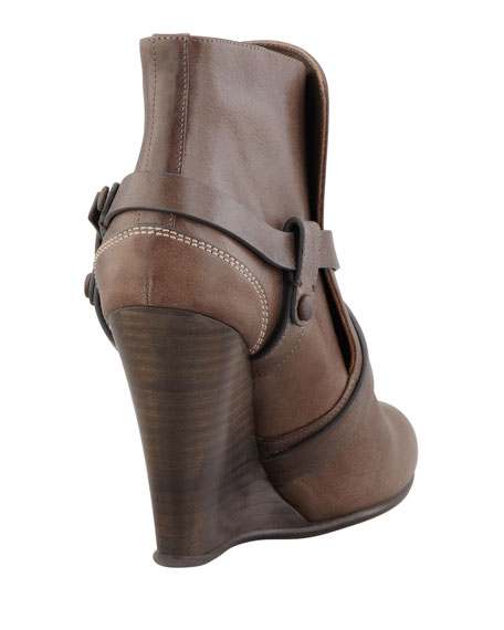 High Wedge Harness Bootie, Gray