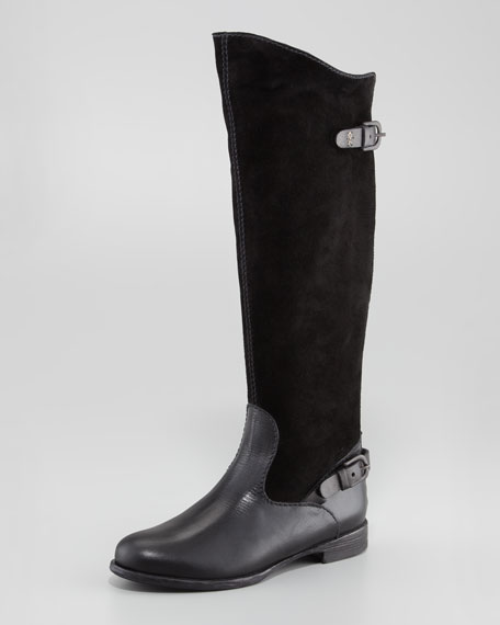 Suede/Leather Flat Knee Boot, Black