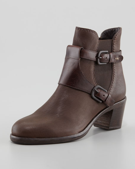 Leather Stretch-Side Harness Ankle Boot