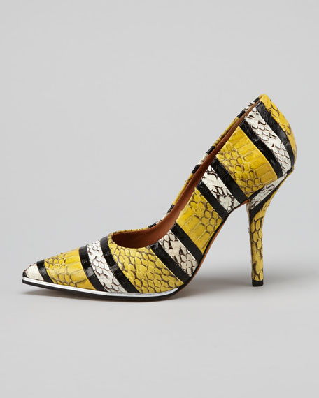 Metal-Midsole Snakeskin Pump