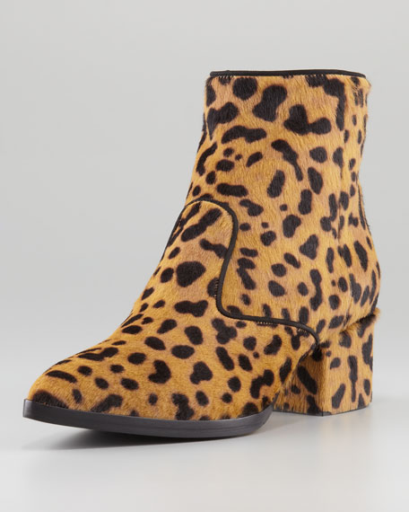 Leopard Pointy-Toe Ankle Bootie