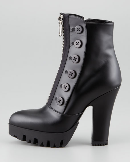 Buttoned Zip-Front Platform Ankle Boot