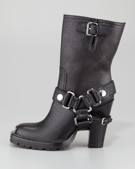 Miu Miu Mid-Calf High-Heel Biker Boot