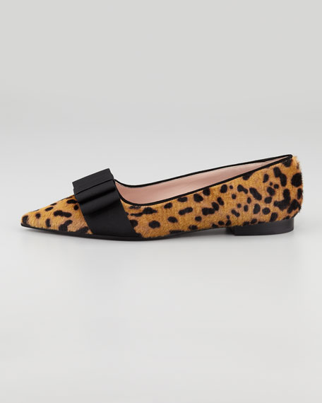 Pointy Leopard-Print Calf Hair Flat