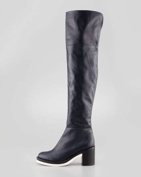 Rubber-Sole Over-the-Knee Boot