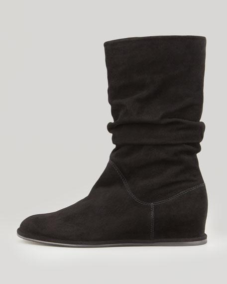 Harbor Slouchy Suede Wedge Boot, Black