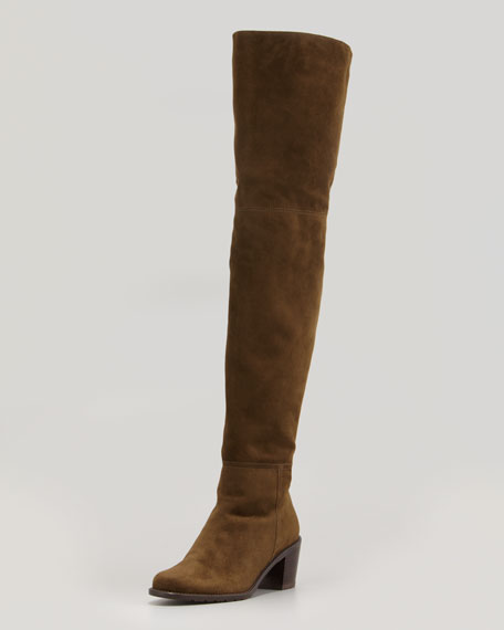 Hitest Suede Over-the-Knee Boot, Olive