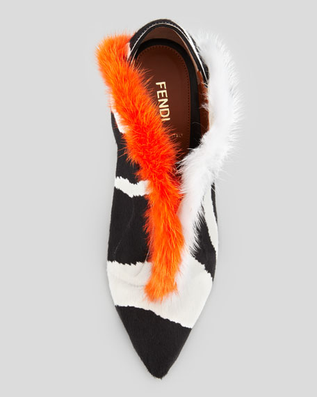V-Neck Fur Ankle Boot, Zebra