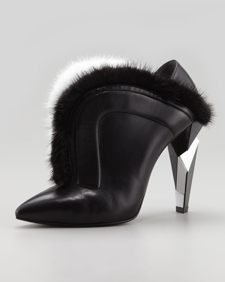 V-Neck Fur Ankle Boot, Black