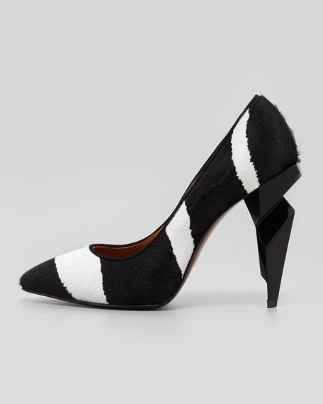 Zebra-Print Diamond-Heel Pump, Black/White