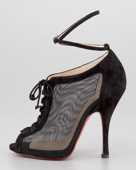 Abbesses Mesh Peep-Toe Red Sole Bootie, Black
