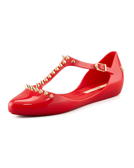 Doris Spiked T-Strap Flat, Red