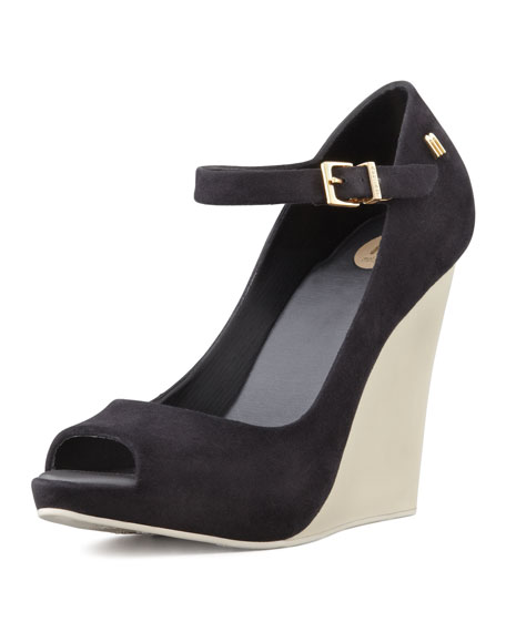Prism II Mary Jane Wedge, Black/Beige
