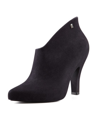 Drama Flocked Waterproof Bootie, Black