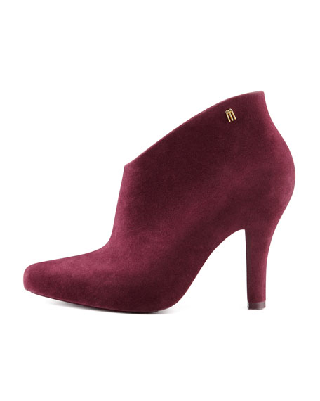 Drama Flocked Waterproof Bootie, Burgundy