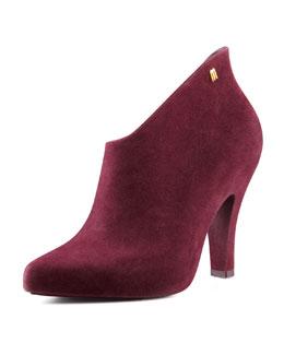 Melissa Shoes Drama Flocked Waterproof Bootie, Burgundy