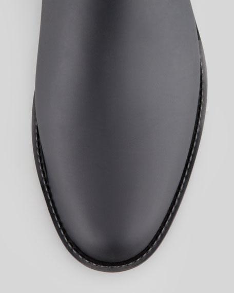 Two-Piece Plastic/Faux-Suede Riding Rain Boot, Black