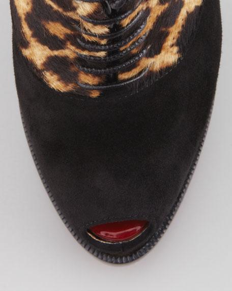 Miss Poppins Lace-Up Platform Bootie, Black/Leopard Print