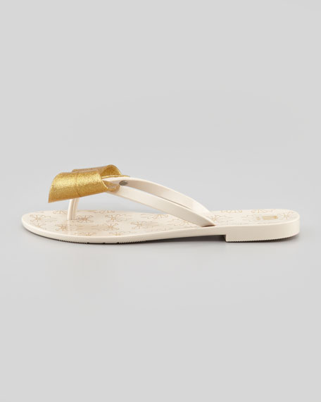 Harmonic II Jelly Bow Thong Sandal, Gold