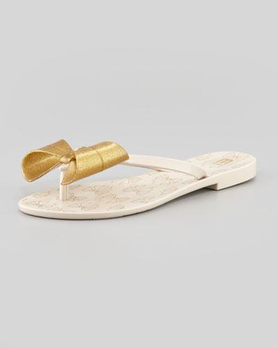Melissa Shoes Harmonic II Jelly Bow Thong Sandal, Gold