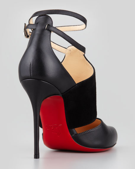 Trotter Banded Ankle-Wrap Pump, Black