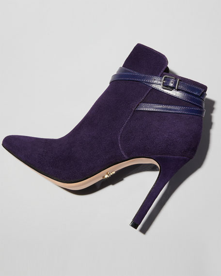 Candence Pointy-Toe Bootie, Plum