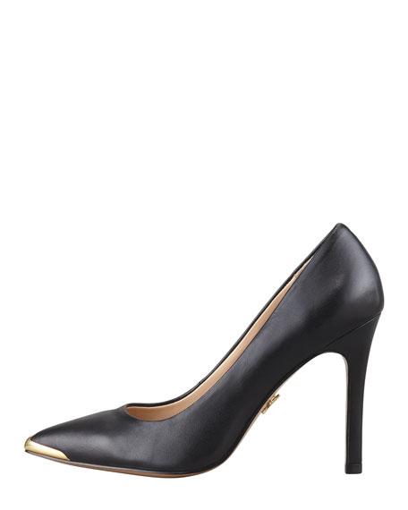 Christelle Metal-Tip Pointy-Toe High-Heel Pump, Black