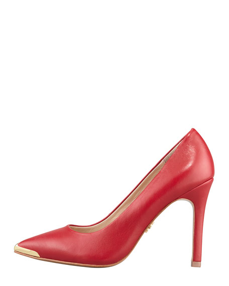 Christelle Metal-Tip Pointy-Toe High-Heel Pump, Red