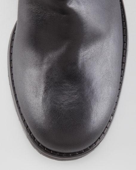 Dixi Shiny Calfskin Low Moto Boot, Black