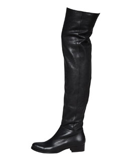 Jimmy Choo Georgina Stretch Leather Over-the-Knee Boot, Black