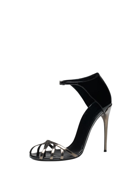 Caged-Toe Evening Sandal, Black/Gunmetal