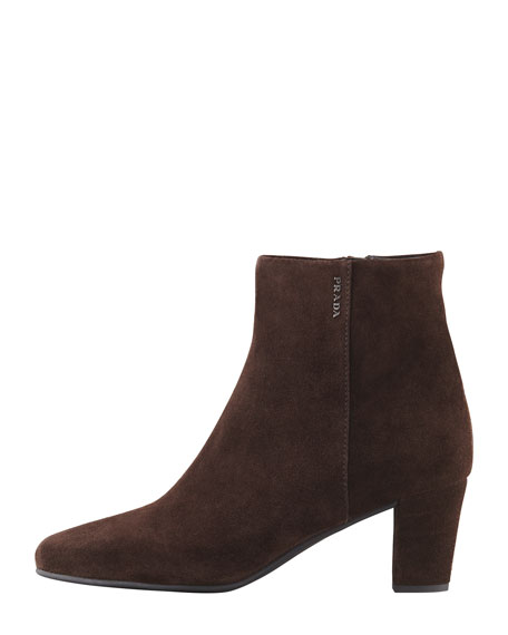 Mid-Heel Suede Ankle Boot, Brown