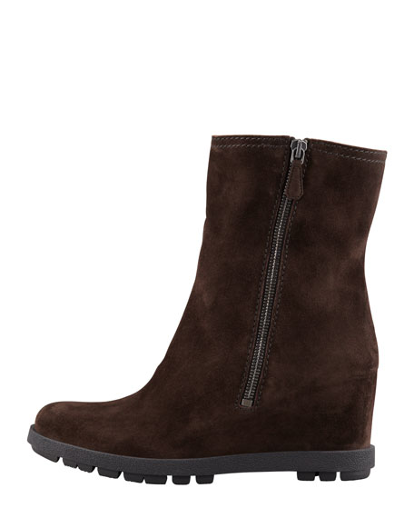 Suede Double-Zip Wedge Ankle Boot, Brown