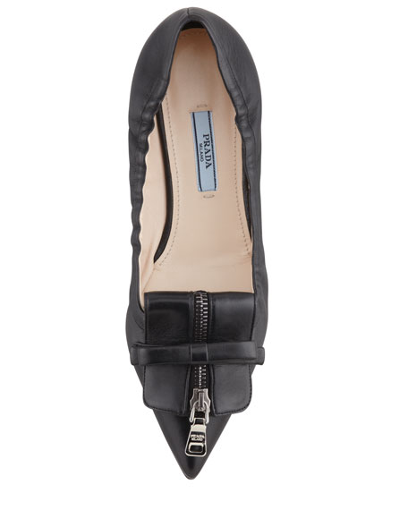 Pointy Zip-Front Ballerina Flat, Black