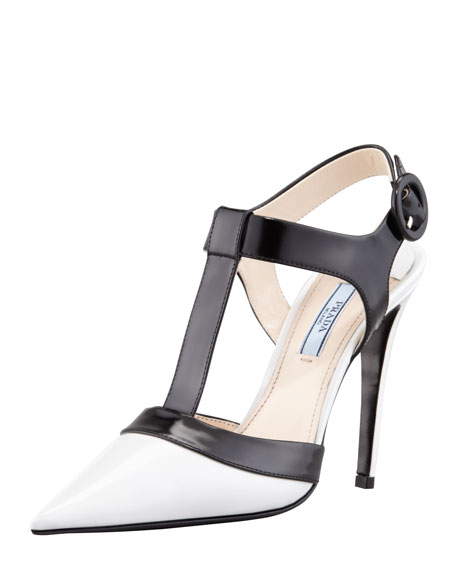 Spazzolato Pointy T-Strap Pump, Black/White