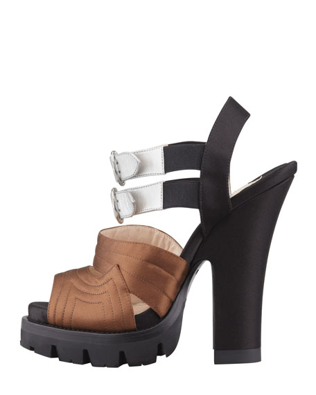 High-Heel Double-Buckle Sandal, Tobacco/Argento