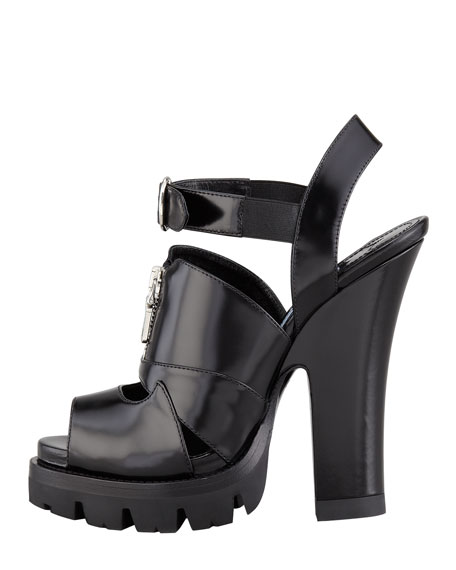Zip-Front Lugged Platform Sandal