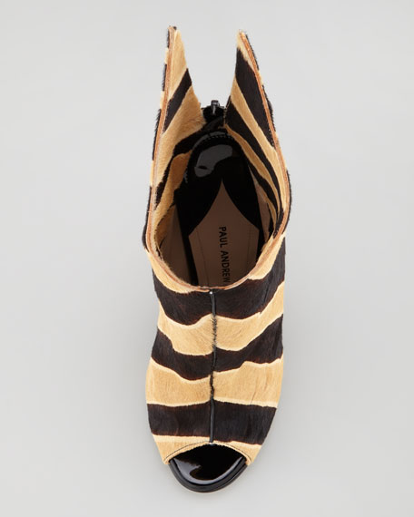 Zebra-Print Calf Hair Peep-Toe Bootie