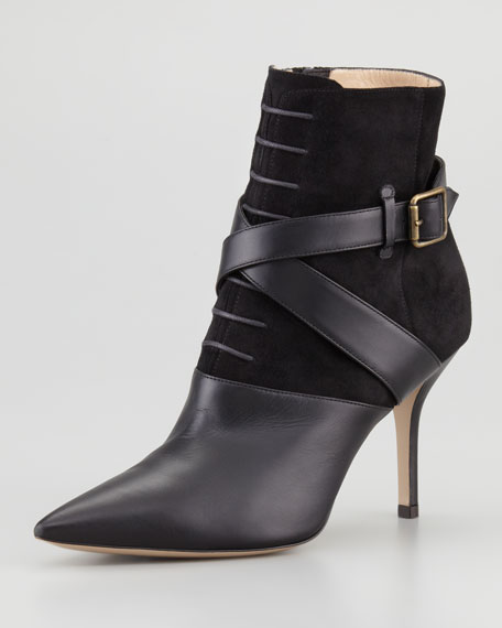 Alimar Suede/Leather Pointy Ankle Boot, Black