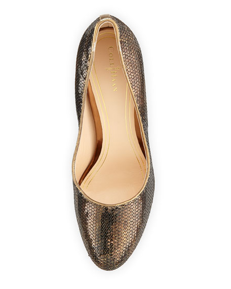 Chelsea Sequined Pump, Bronze