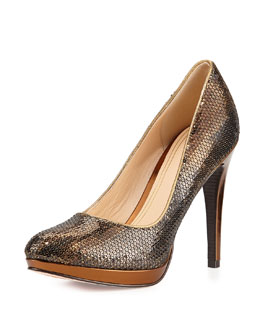 Cole Haan Chelsea Sequined Pump, Bronze