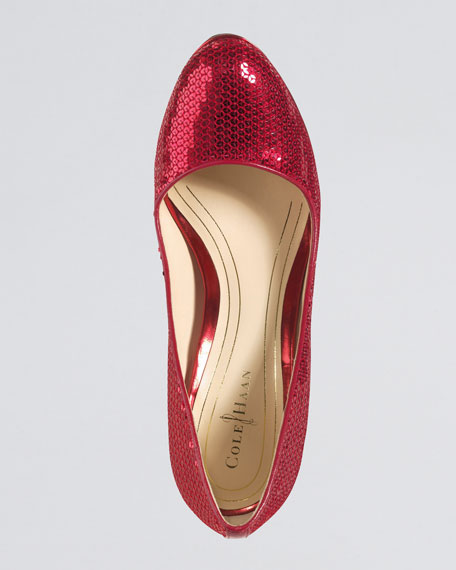 Chelsea Sequined Pump, Red