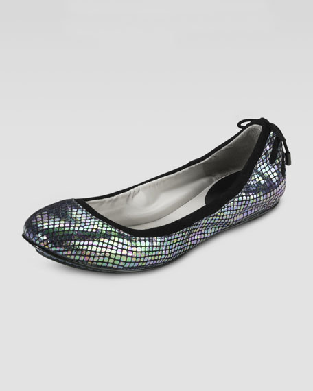 Air Bacara Backlace Ballet Flat, Black Metallic Snake Print