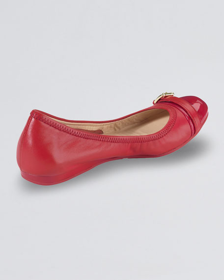 Air Reesa Buckle Cap-Toe Ballerina Flat, Red
