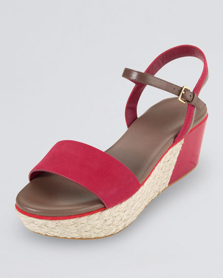 Arden Nubuck Wedge Sandal, Red