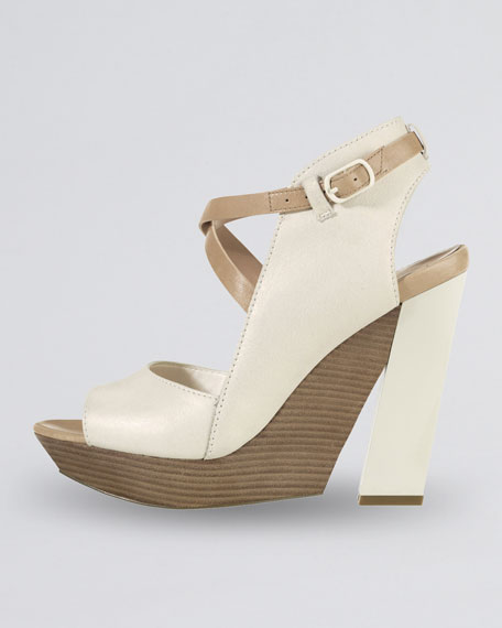 Arlington Open-Toe Wedge Sandal, Sandstone