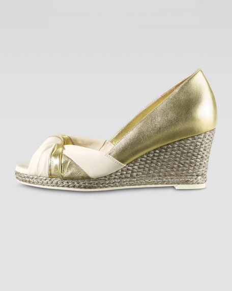 Ava Open-Toe Wedge Pump, Platino